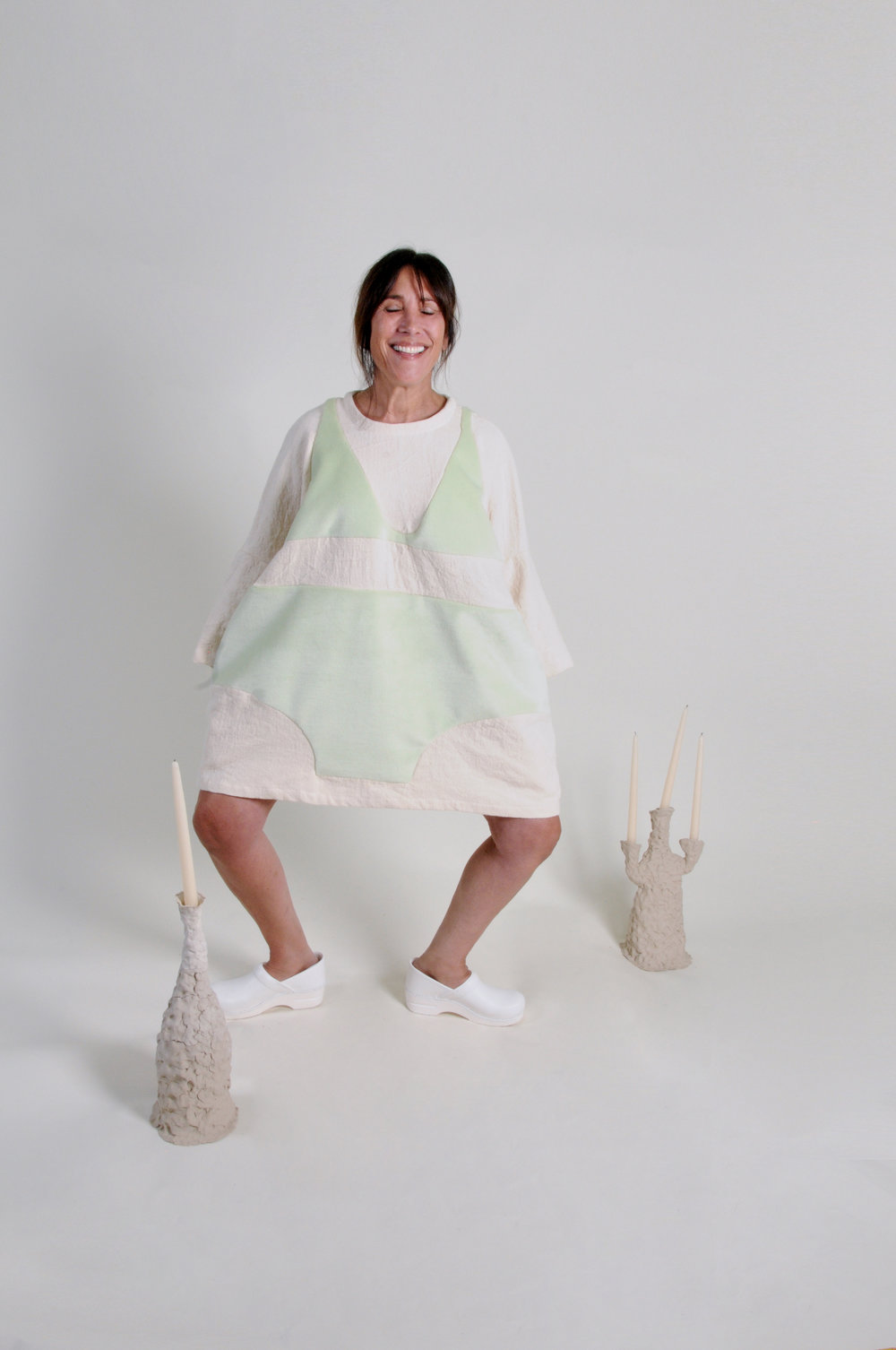 UNDERWEAR DRESS: AVOCADO AND gf TOAST - 0215COLOR : CREAM AND SOFT GREENFABRIC : TEXTURED COTTON BASE WITH SOFT GREEN FAUX FURWHOLESALE $124 / RETAIL $248SIZES : ONE SIZE / FITS XS - XL