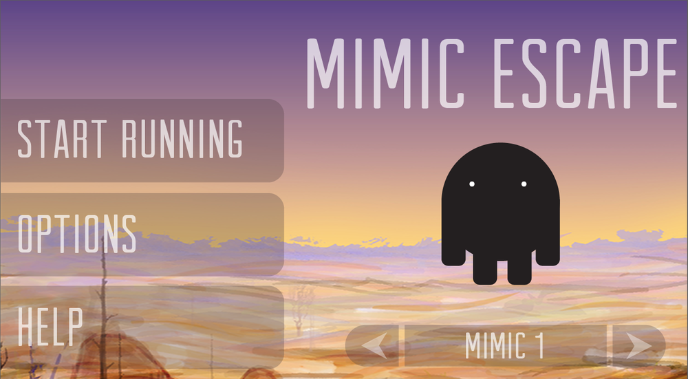 UI landing page for Mimic Escape app