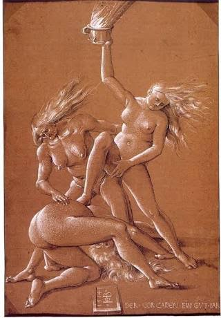 "Hans Baldung 16th Century ""New years wish with three Witches"""