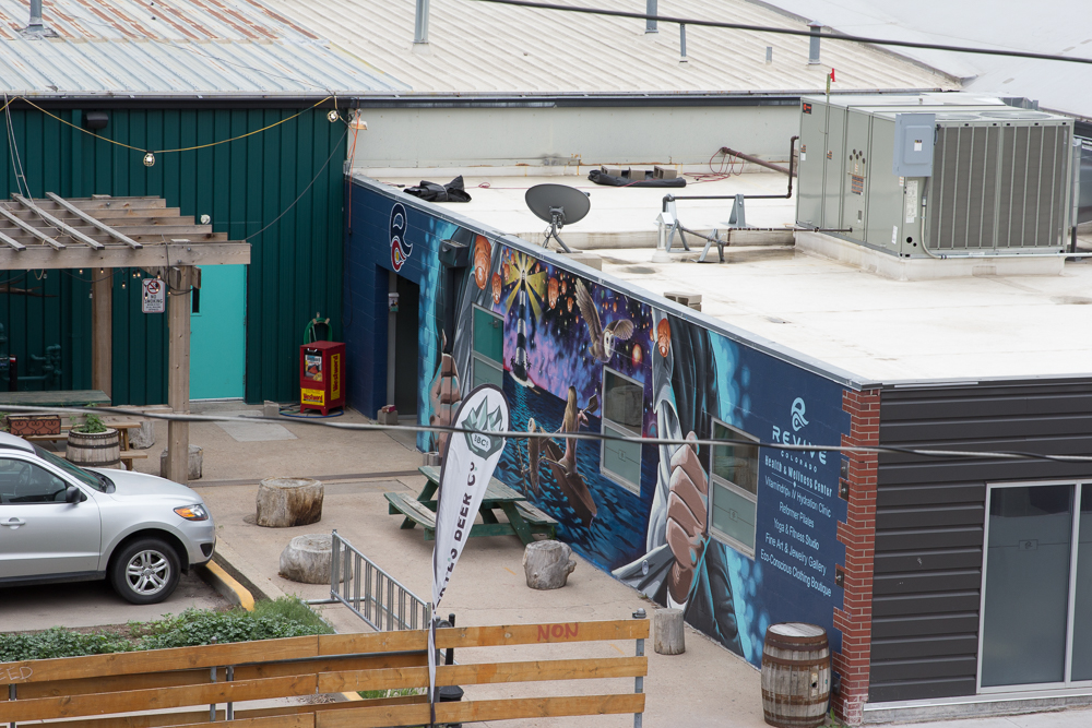 One of many murals visible from Carolyn's balcony.