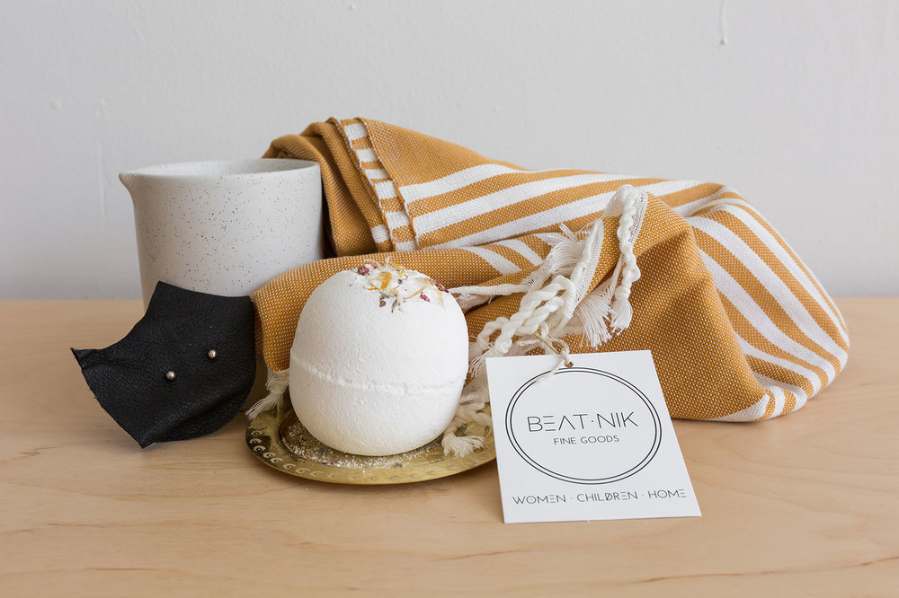 GIVEAWAY! - Moroccan striped scarf, Among The Flowers natural bath bomb, Sterling Silver bud studs, Black Salt & Birch candle!