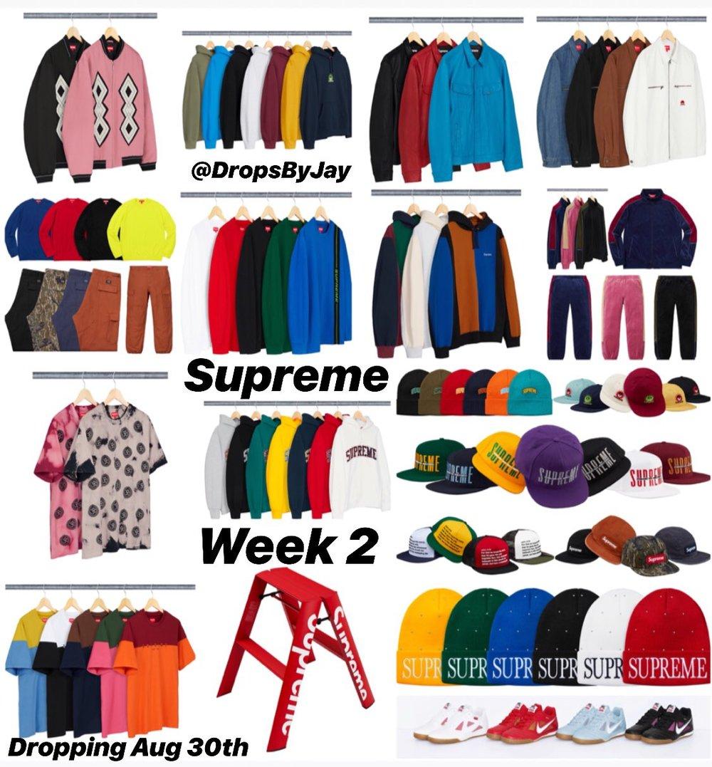 ddf2879bf5e SUPREME WEEK 2 DROP F W 18 (8 30 18) — Sneaker Spots