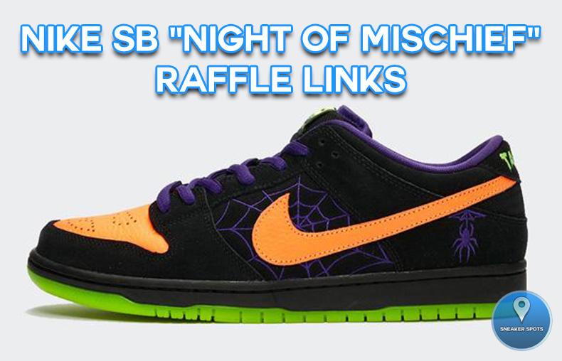 nike sb dunk low night of mischief raffle
