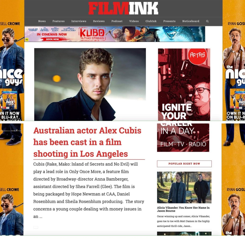 Film Ink: Press Release for Alex Cubis' casting