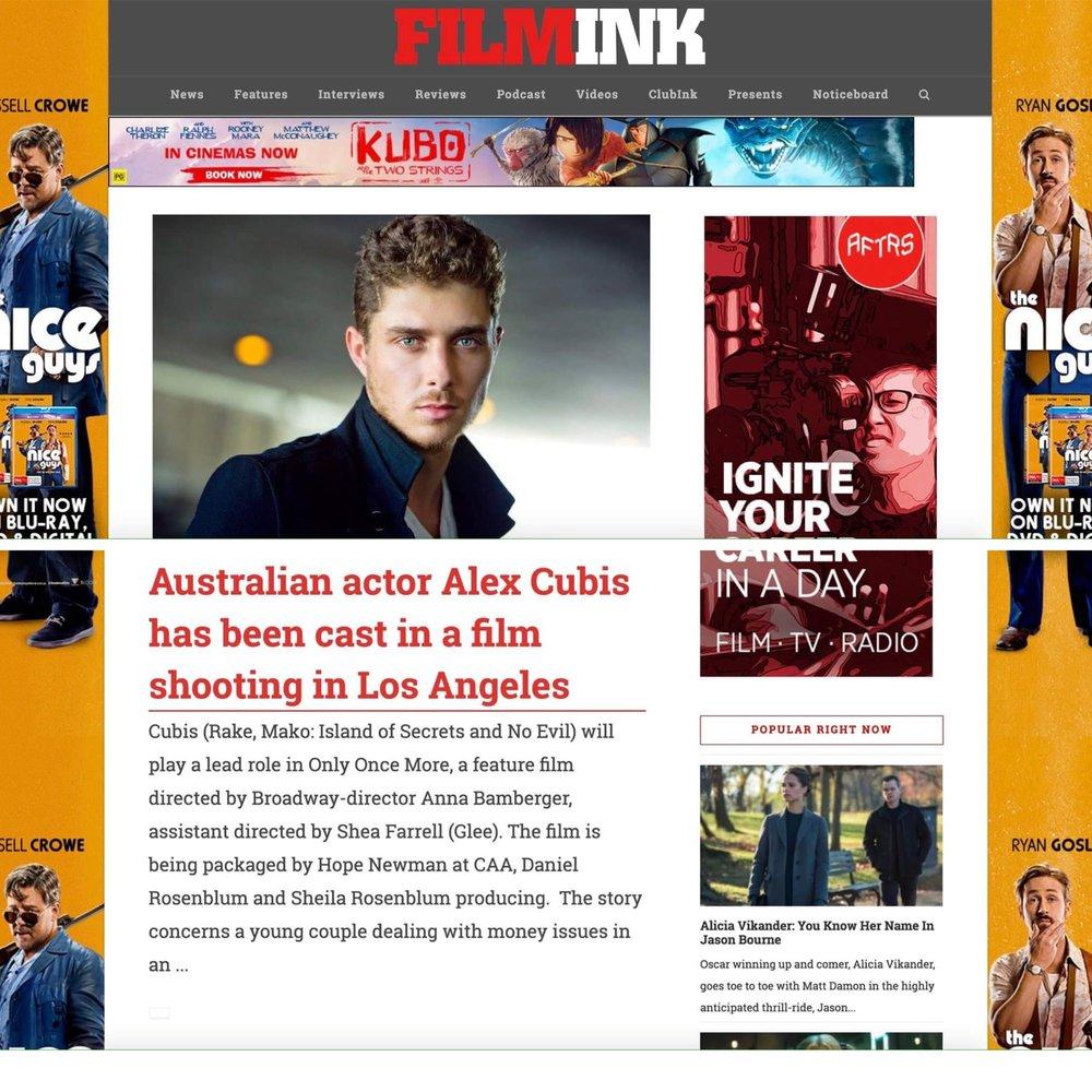 Film Ink: Press Release for Alex Cubis' casting