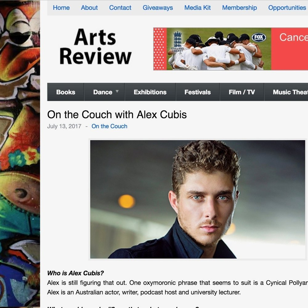 "Arts Review: Alex Cubis ""On the Couch Interview"""