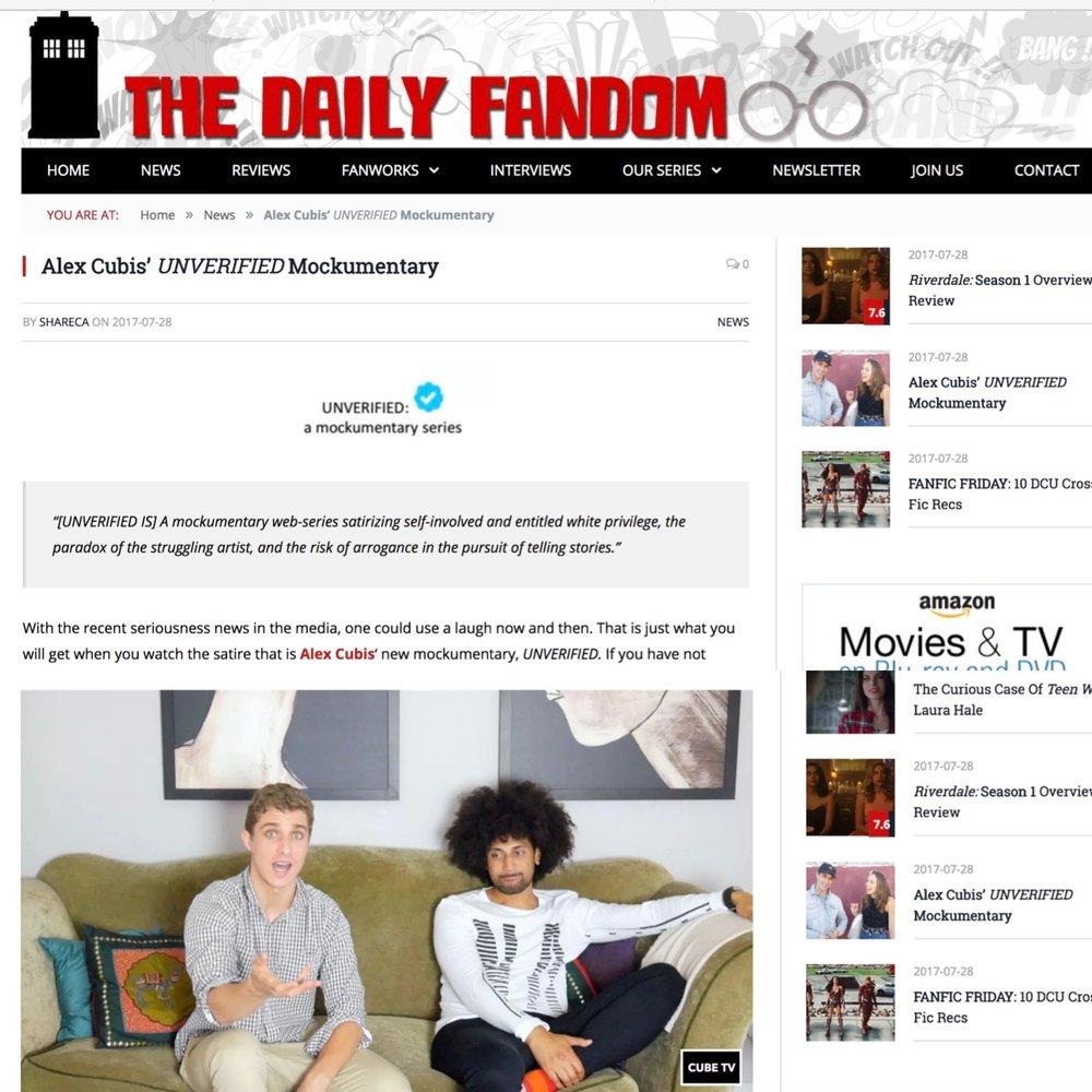 Daily Fandom: Alex Cubis' UNVERIFIED Mockumentary