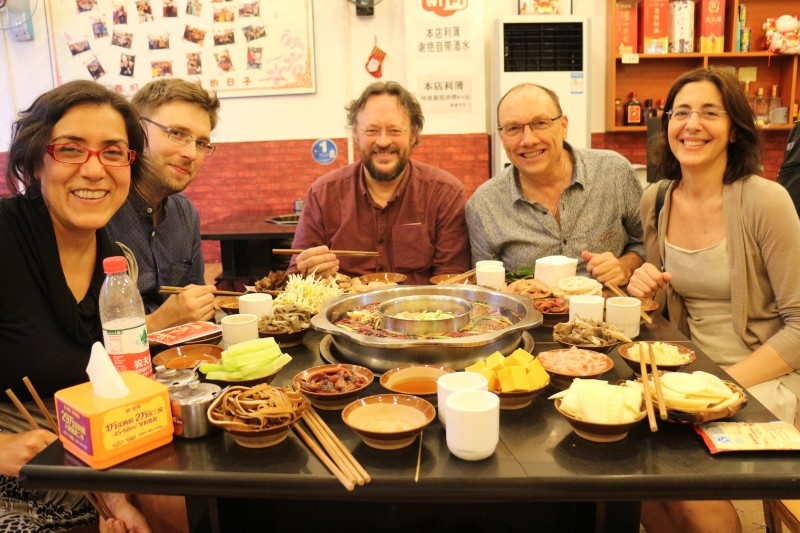 Members of the International Advisory Committee to the Chinese Lighting Designer's Association investigating the Hotpot theory following the opening of the 100 Lighting Design Projects exhibition at the Chongqing Art University.
