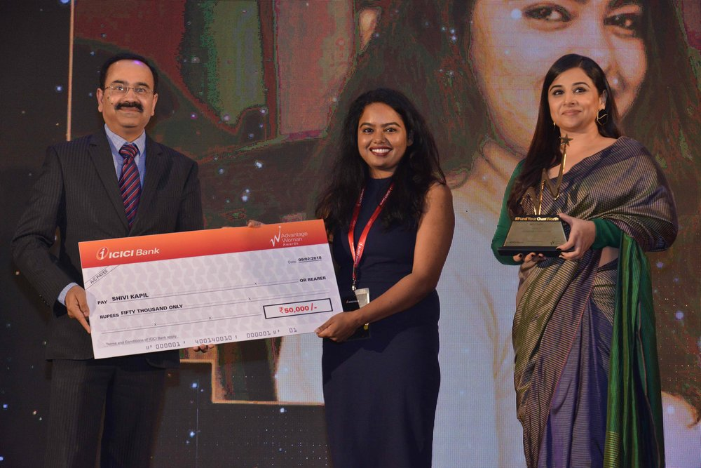 Shivi receiving award from Senior officer , ICICI Bank and accomplished woman and actor VIDYA BALAN at ICICI Bank TRIDENT Mumbai.  - Feb 9th, 2018