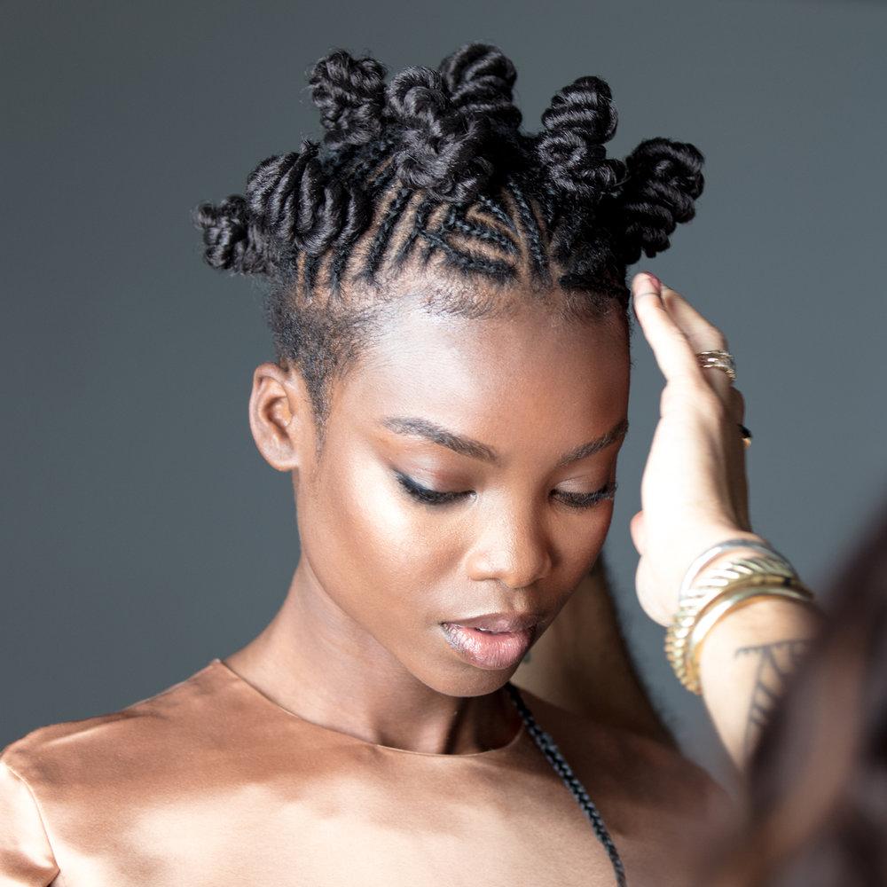 Maria Borges : MIZANI Style Icon, Model & Trendsetter, sporting a braided bantu knot-style.Styled by MIZANI Global Artistic Director: César DeLeön Ramirêz