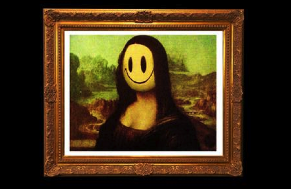 "One of the many Banksy editions of Leonardo da Vinci's ""Mona Lisa"" titled: ""Mona Lisa Smile"""