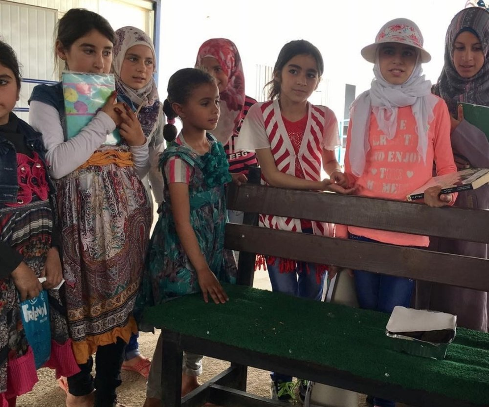 Meet a (future) engineer, lawyer, doctor and maths teacher: the TIGER girls at Za'atari Camp. Picture: Helen Storey.