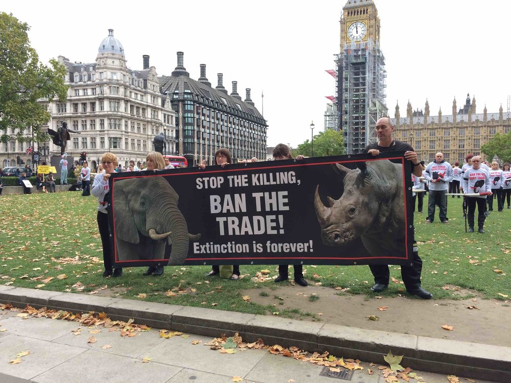 Earlier this month, Action for Elephants held a silent vigil for elephants and rhinos in Parliament Square. Picture: Bel Jacobs.