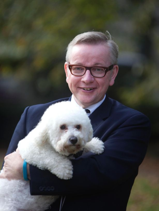 Gove and his dog Snowy. Picture: David Parry/PA Wire