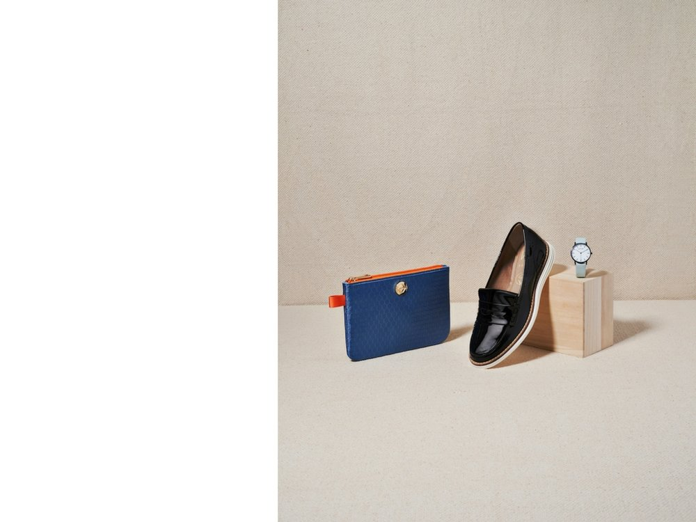 Bag, Little Anything in Sea Hex by Taikka; Vegan Patent Loafer by Wills; Black And White Face Watch by Votch.