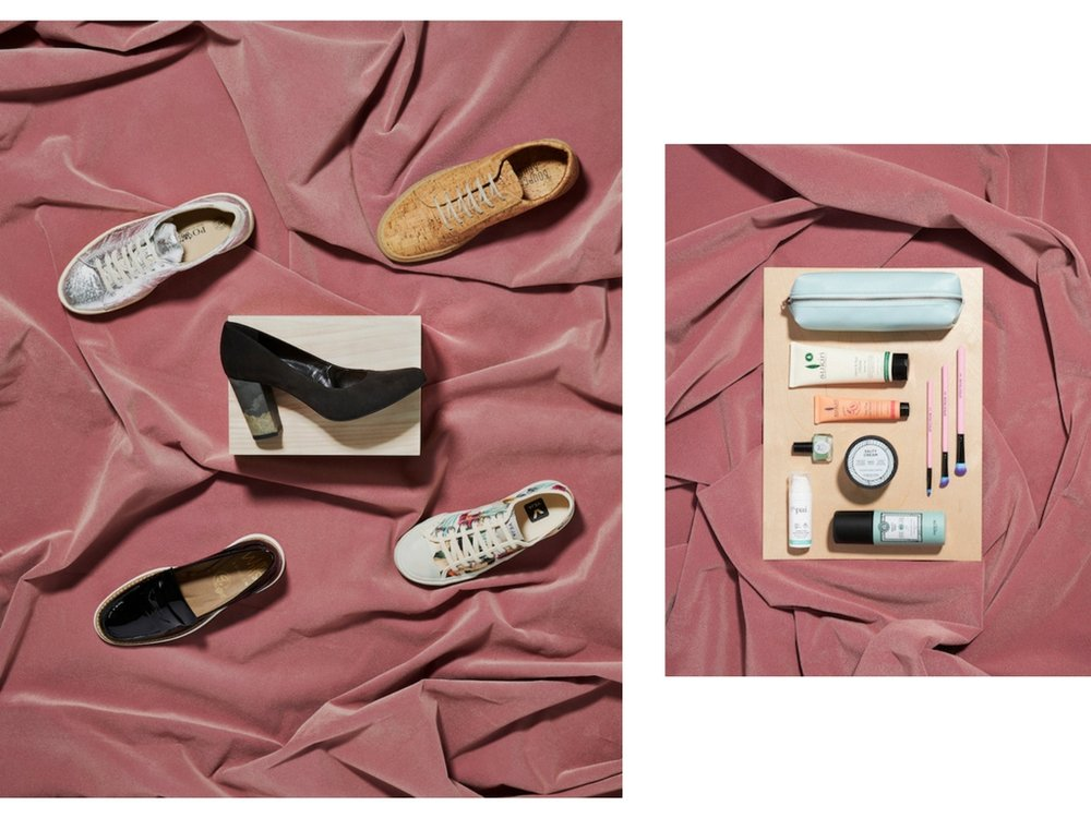 Clockwise from left: Silver Sneak by Po-Zu; Kim Cork Trainer by Bourgeois Boheme; Wata Canvas Trainer by Veja; Vegan Patent Loafer by Wills; Kate Ecostone Heel by Bourgeois Boheme.