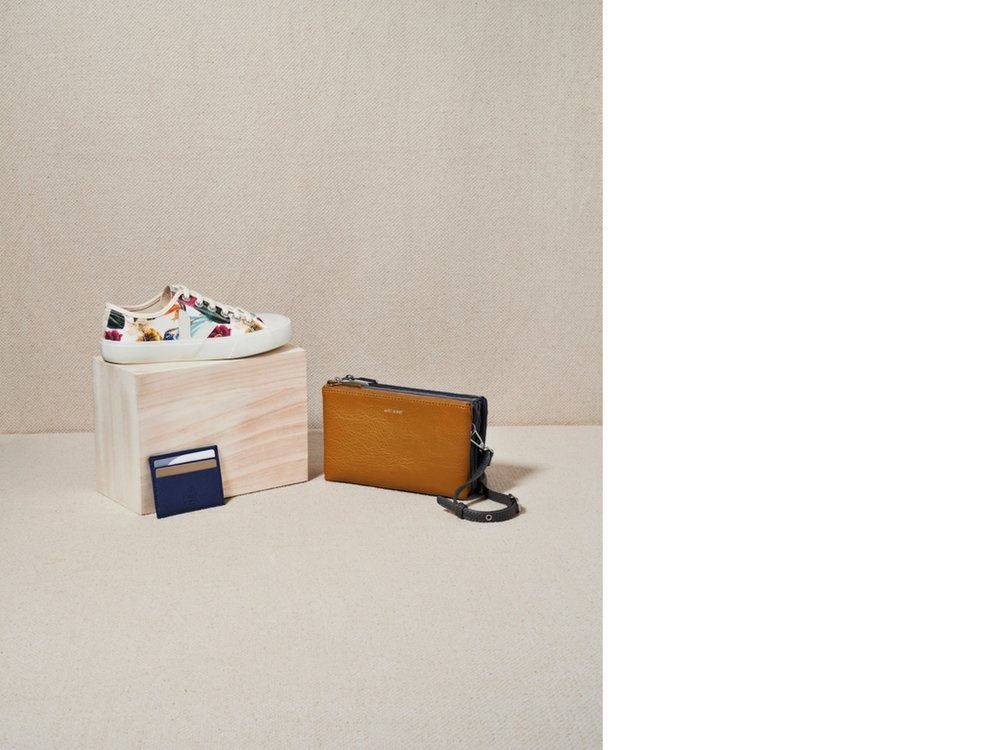 Wata Canvas Trainer by Veja from Third Estate; Card Holder by Wills; Triple Bag by Matt & Nat.