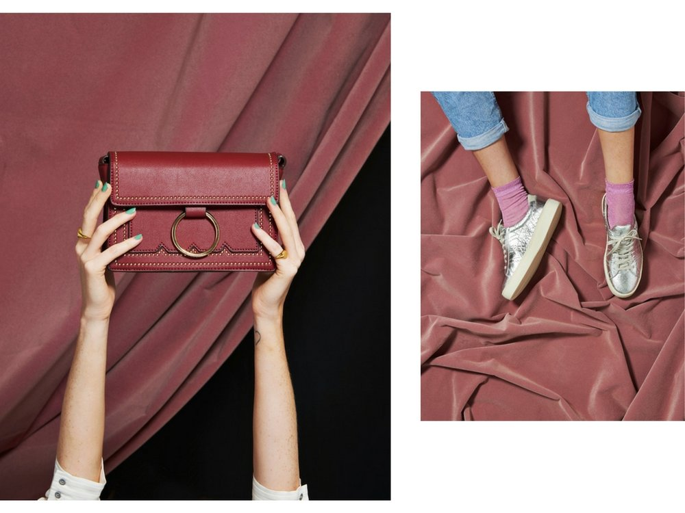 Cherie in Burgundy by  Melie Bianco ; silver sneakers by Po Zu.