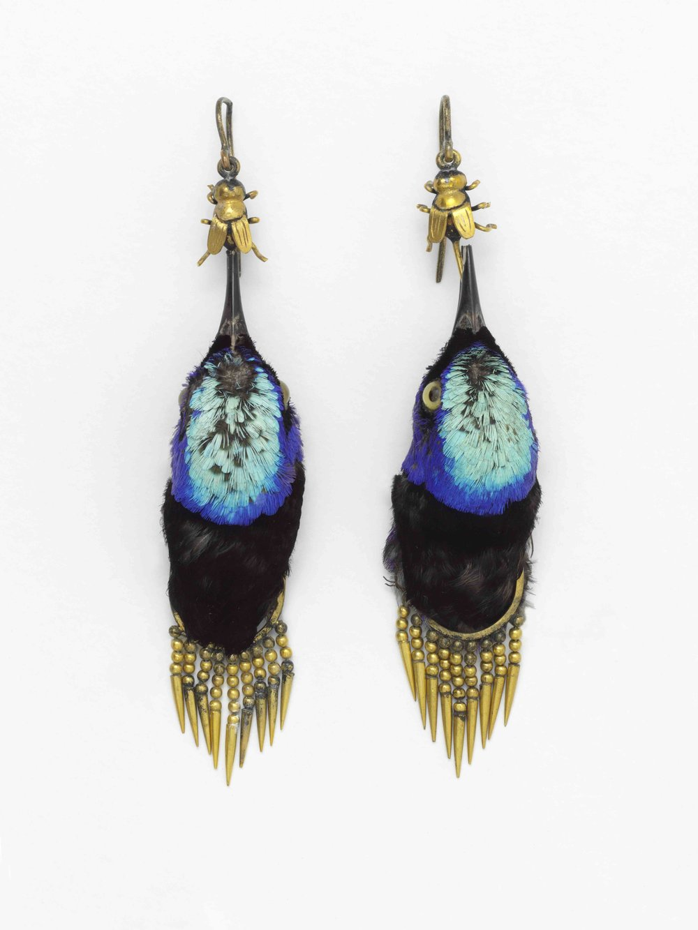 Earrings made from heads of Red Legged Honeycreeper birds, circa 1875 © Victoria and Albert Museum, London