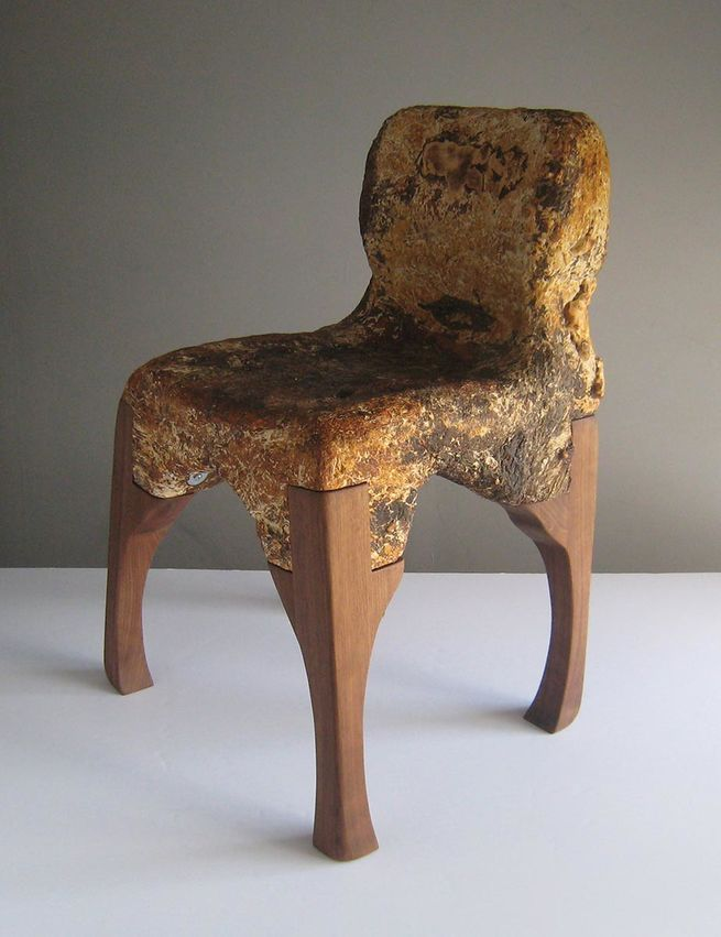 The McQueen chair, grown by Phil Ross out of mycelium. Picture: Phil Ross.