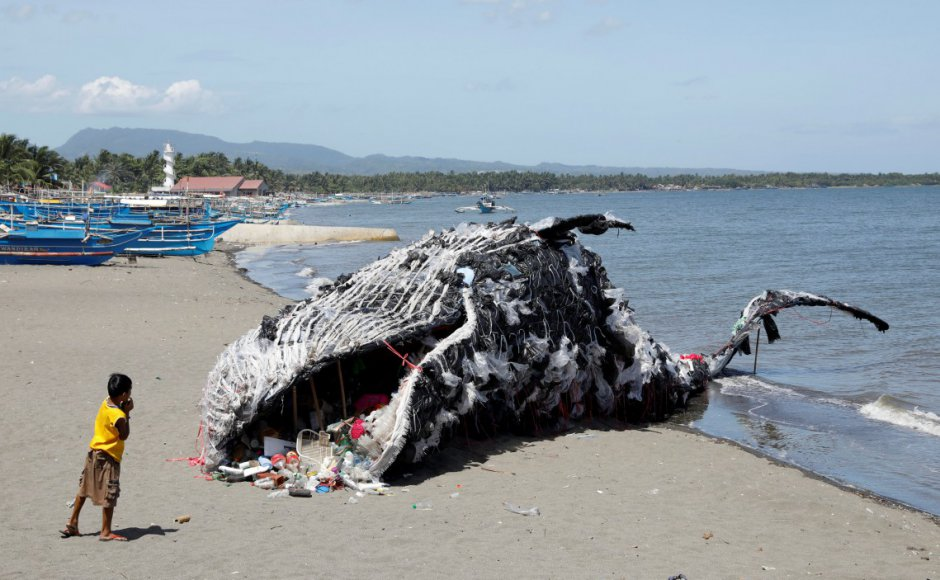 The whale made from ocean plastics by Greenpeace Philippines at the Sea Side Beach Resort, Naic, Civate.