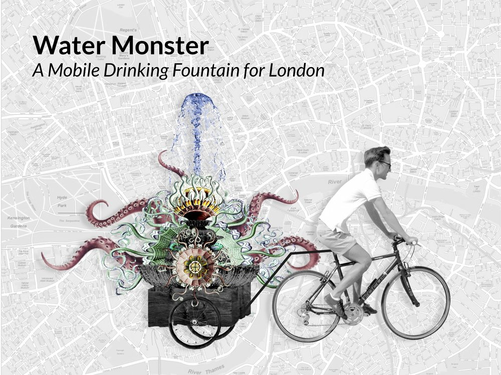 Water Monsters are mobile drinking fountains, conceived as part of the #OneLess Design Fellowship to help venues, retailers, events and places across London to tackle single-use plastic water bottles