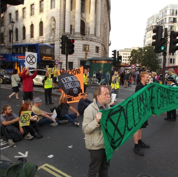 """If we don't respond with a war-style effort now we are all fucked, all of us.""  Picture: Extinction Rebellion."