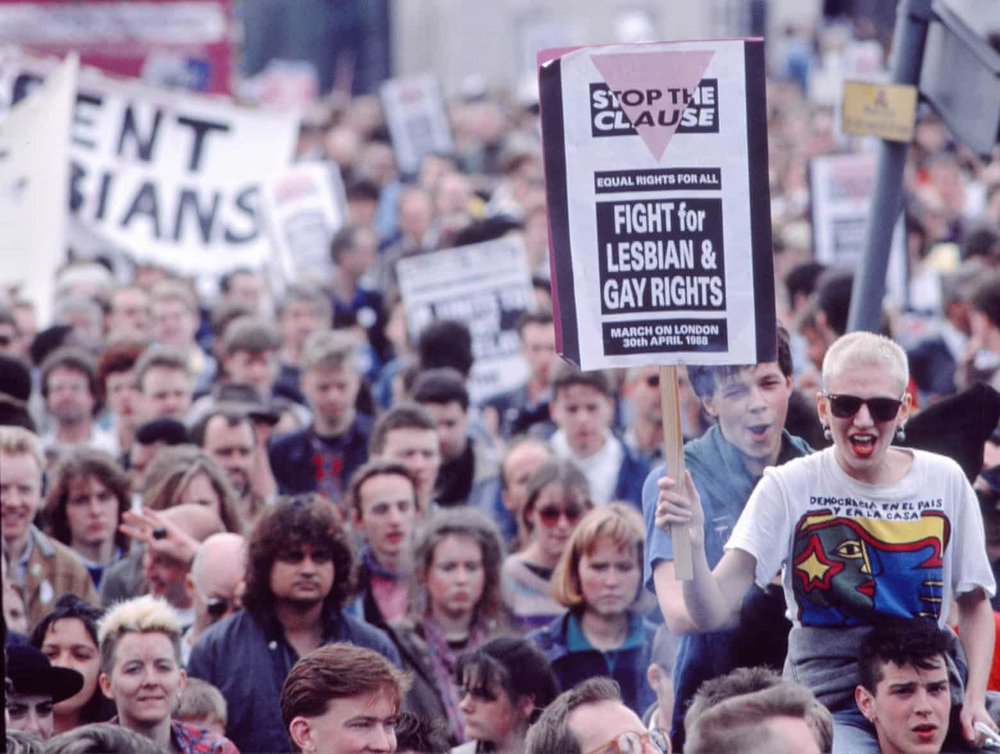 Demonstrators on a section 28 march in London in 1988. Photograph: Rick Colls/Rex/Shutterstock