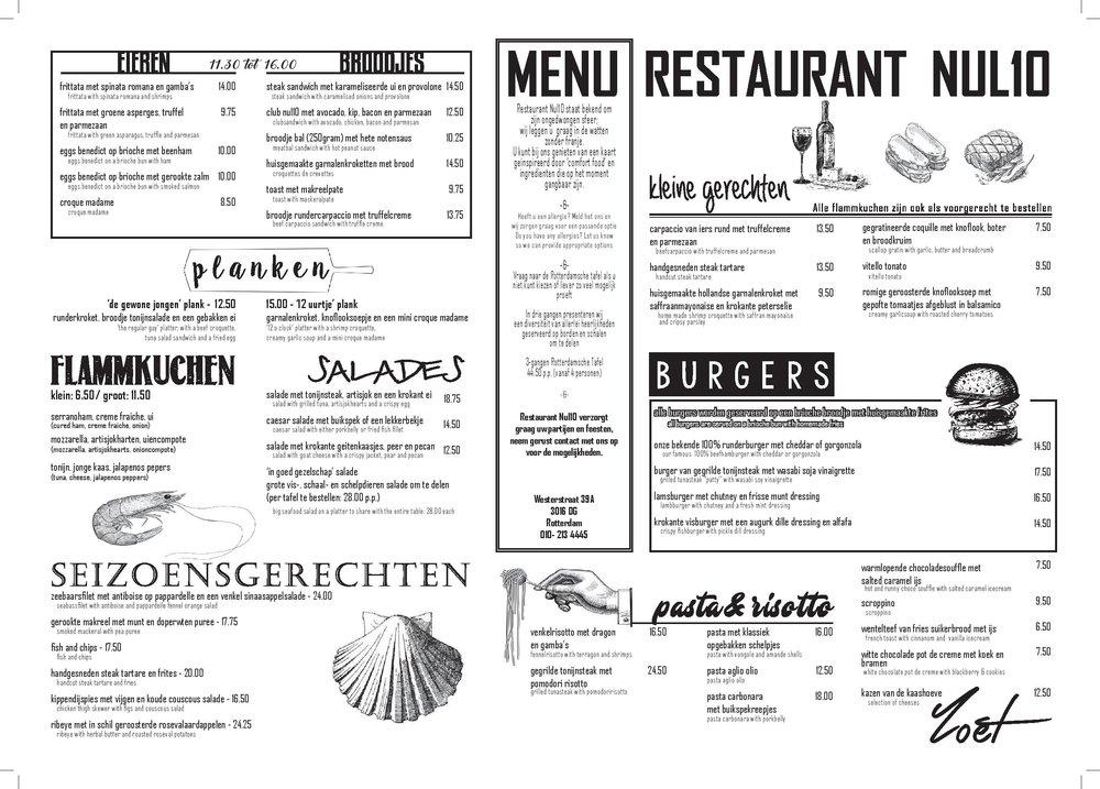 Menu Restaurant Nul10 - Lunch, Dinner en Groepen.