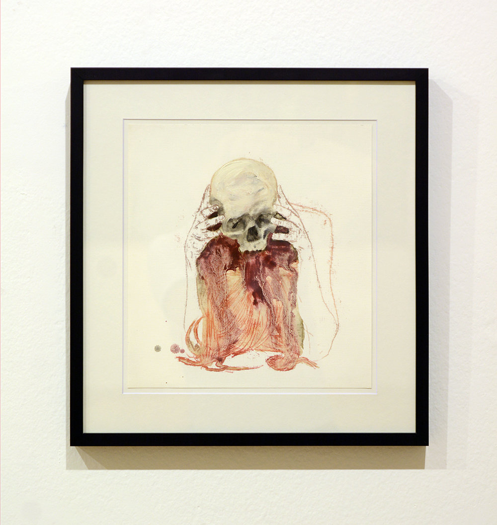 Skull / oil on paper / 30 x 30 cm /   2015