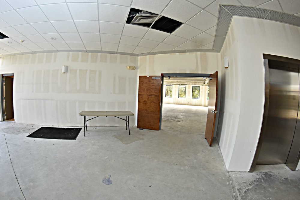1st Floor Lobby  View of the entrance to the right side of the building which will house the Client Services Area.