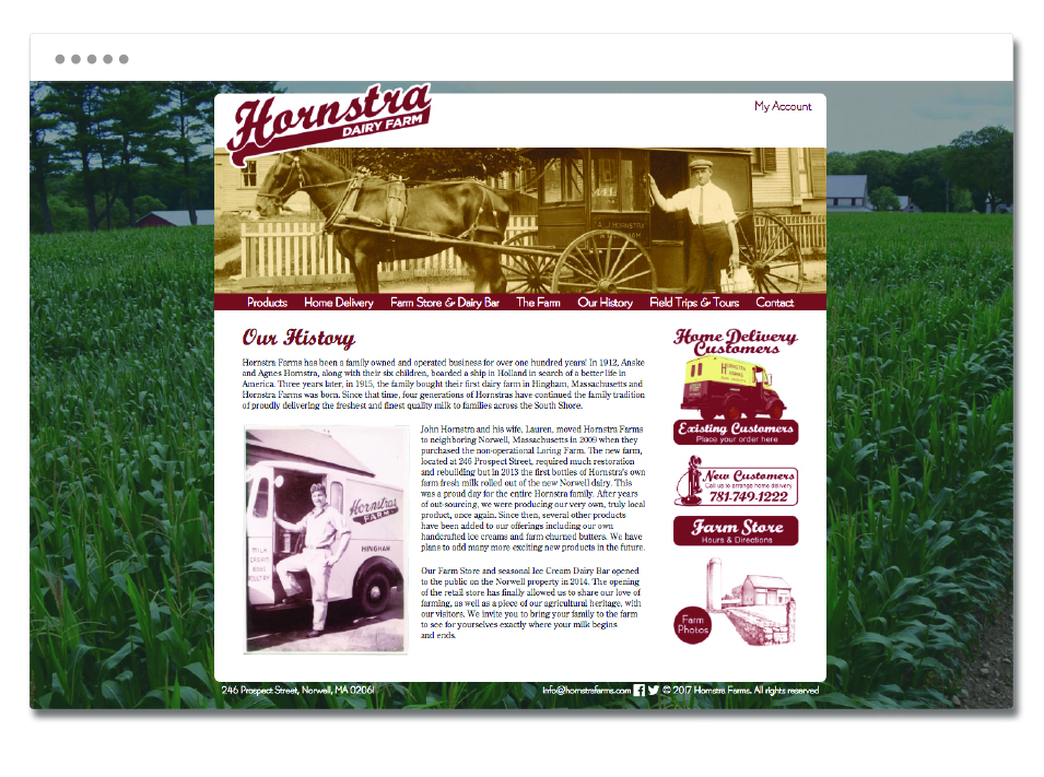 """Our History"" page of the website designed for Hornstra Dairy Farm."