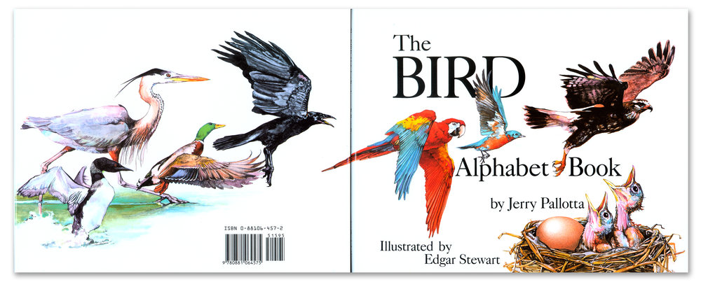 Back and front cover illustration for  The Bird Alphabet Book