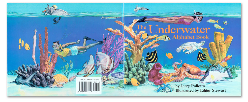 Back and front cover illustration for   The Underwater Alphabet Book