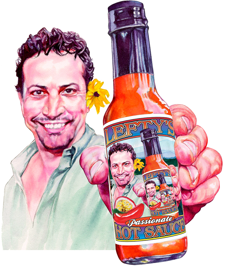 Illustration for Lefty's Hot Sauce label