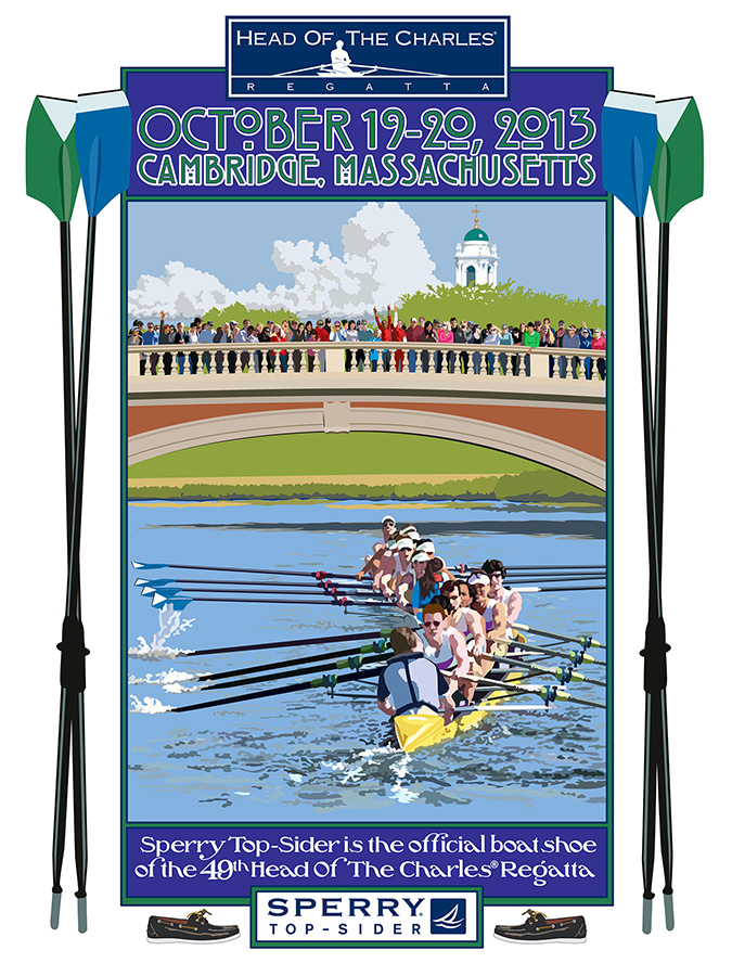 Digital Illustration for the official sponsor's posters commemorating the annual running of the Head of the Charles Regatta