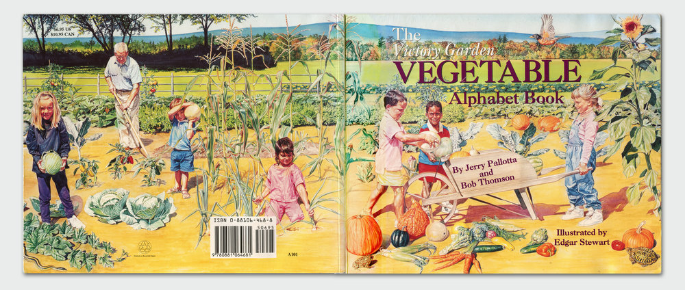 Back and front cover illustration for   The Victory Garden Alphabet Book