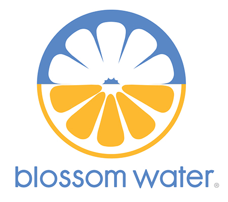 2 color logo combining image of a flower with the image of a fruit.