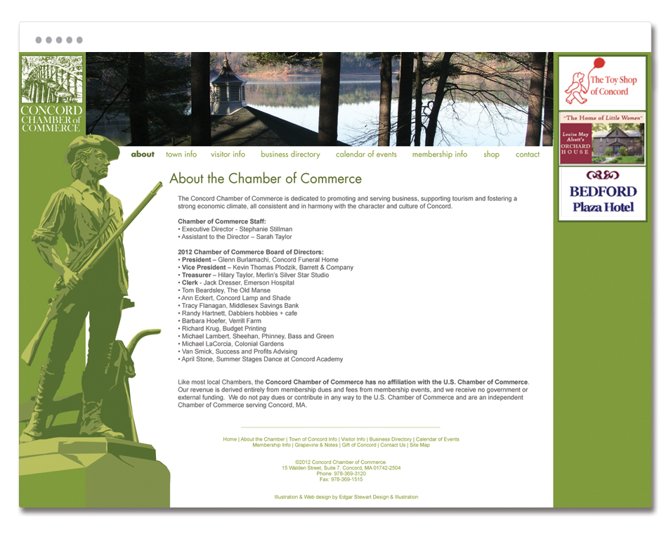 Concord, MA Chamber of Commerce website design.