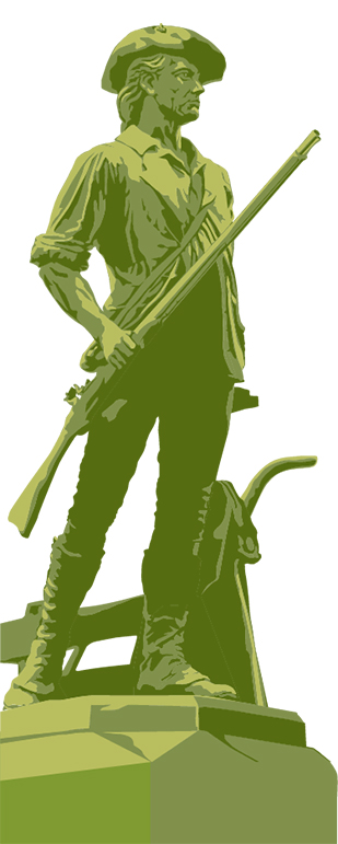 Illustration of Daniel Chester French's Concord Minuteman statue in Concord, MA to accompany the Concord Chamber of Commerce's marketing materials and website.