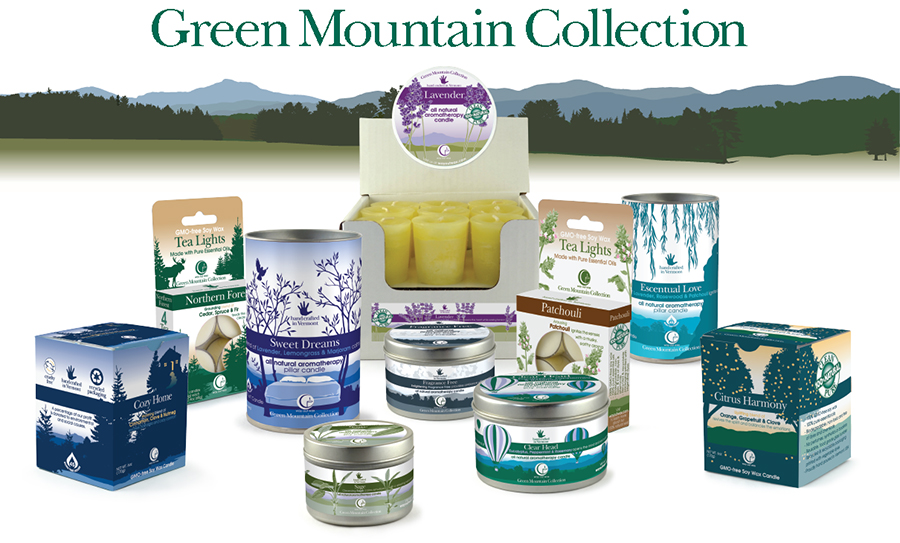 Way Out Wax's line of candles called the Green Mountain Collection.