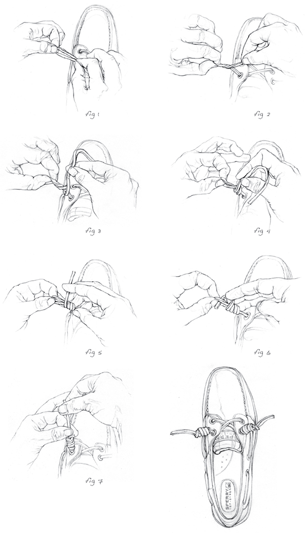 How To Tie a Barrel Knot illustrations for Sperry Topsider.