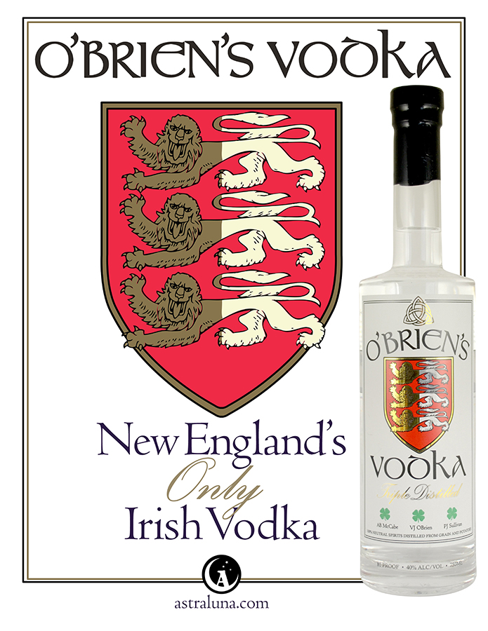 Promotional poster for AstraLuna Distillers' O'Brien's Vodka.