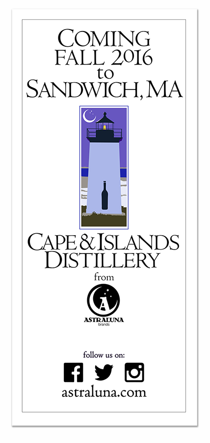 Promotional card for Cape & Island Distillery