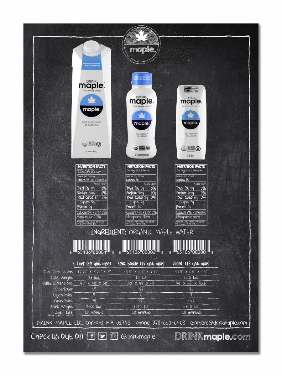 DRINKmaple sales sheet