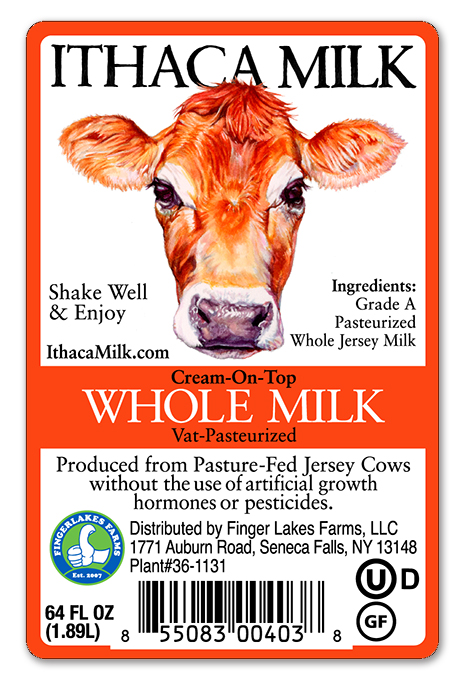 Label for Ithaca Milk's Jersey Cow line of milk