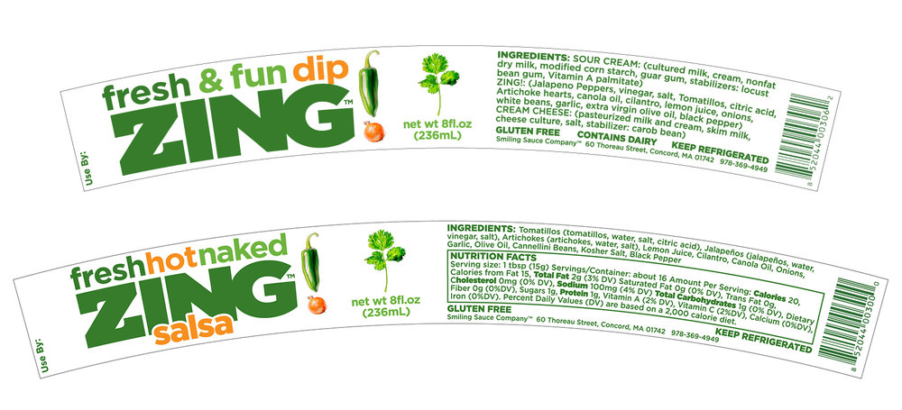 Zing! Dip and Zing! Salsa sidewall labels