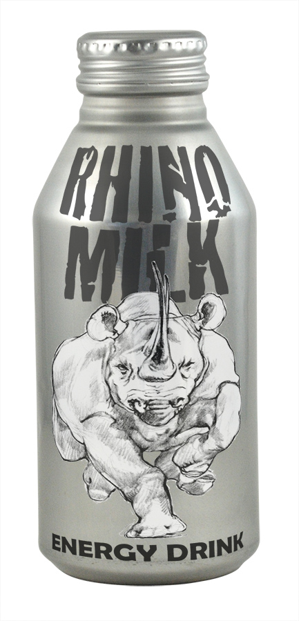Rob's one-off energy drink, Rhino Milk, packaged in an aluminum can with resealable screw cap