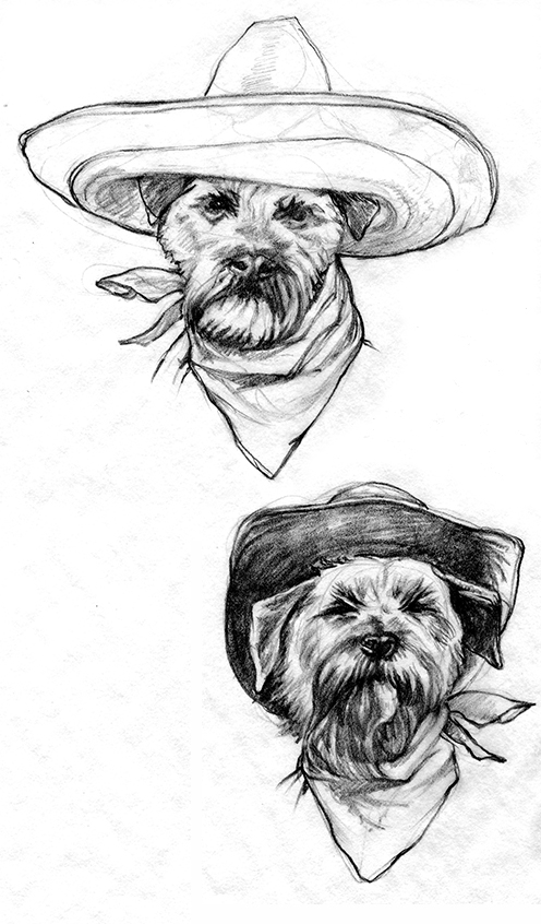 Character drawings for Astra Luna Distiller's Old Ringo Tequila label
