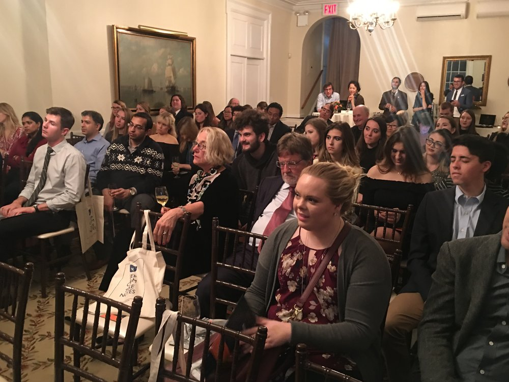 Over 100 journalists, students and friends of The Media Project attended the Nov 9th event at India House in NYC.